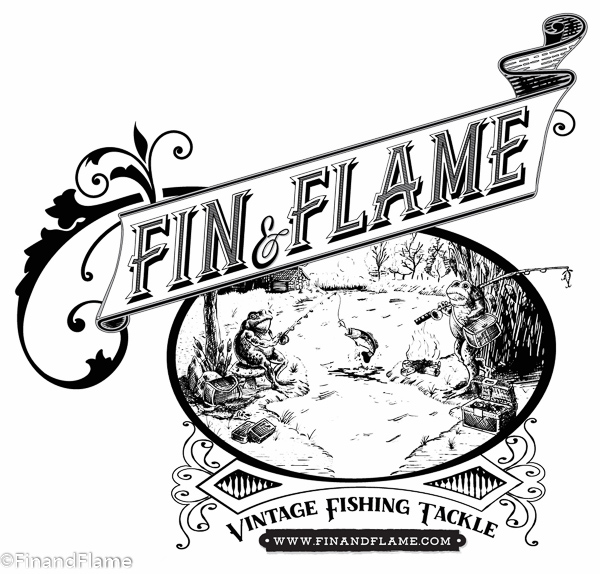 Fin and Flame Antique Lures Sticky Logo Retina